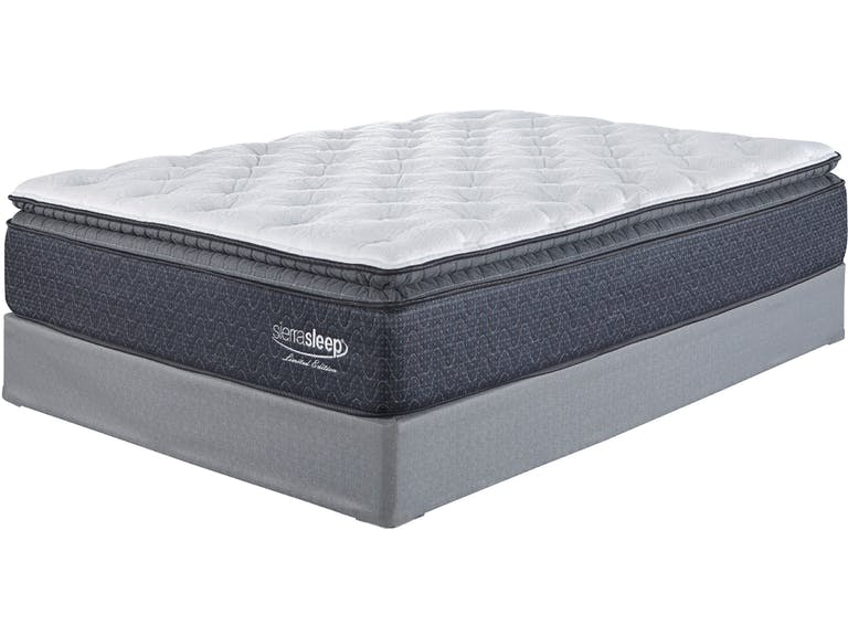 Ashley sierrasleep pillow top Limited edition mattress  Luxurious softness is the inevitable result of layers upon layers of high-density foam and gel support. System of 680 power packed wrapped coils offers ample structural support, while 4-way stretch knit cover provides a smooth yet durable surface for years of use.  -Ultra Loft Comfort Fiber -Blended Cotton Fiber -2 inches Luxury Support Quilt Foam -.5 inch Lumbar Gel Memory Foam -1 inch Conforma Soft Support Foam -3 inches High Density Foam Encasement -720 Encased Coils   10 Year Limited Warranty   sizes available  QUEEN, KING