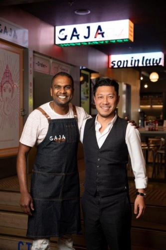 Michael Mai with 2018 Masterchef Winner Sashi Cheliah at Melbourne's HWKR Pop-Up. Photograph: MAI Group