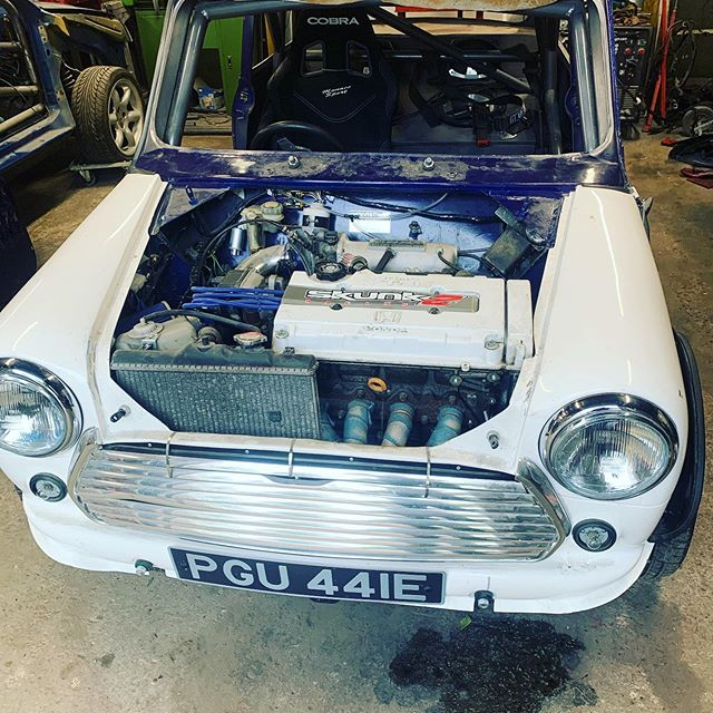 "Starting to think about the next customer project- Honda B18 powered #classicmini. This one has been converted by a previous owner. There's some ""interesting"" work which needs to be corrected. It also has a Watson subframe which I really dislike. @b18_vtecmini #mini #classiccar #engineswap #retrocar #performancecar"