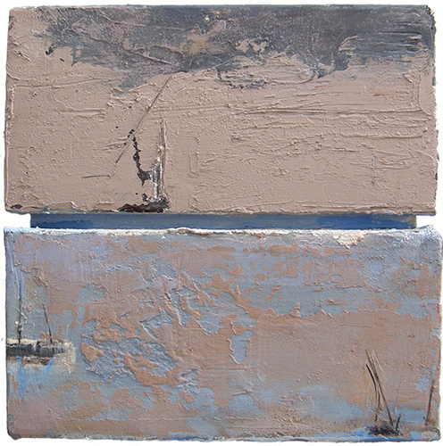 Seascape With Boats Diptych  2002-7, 35 x 35 cm