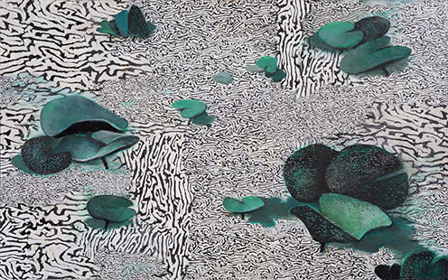 Rippled Pond With Lillies  2005-11, 78 x 123 cm