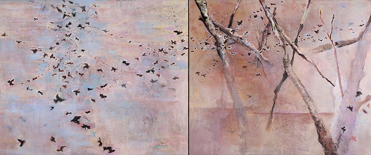 Autumn Wind Leaves And Birds  2001-12, 177 x 420 cm