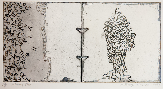 Memory Store  1997, 19 x 34 cm, hand tinted etching