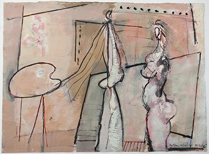 Palette Artist And Model  1989-94, 28 x 38 cm