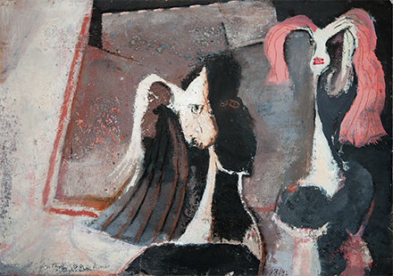 Two Young Ladies  1988-92, 55 x 75.5 cm