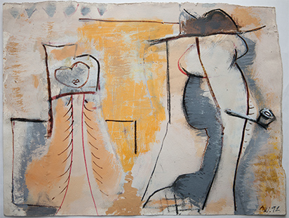 Young Lady And Man With A Pipe  1992, 28.5 x 38 cm