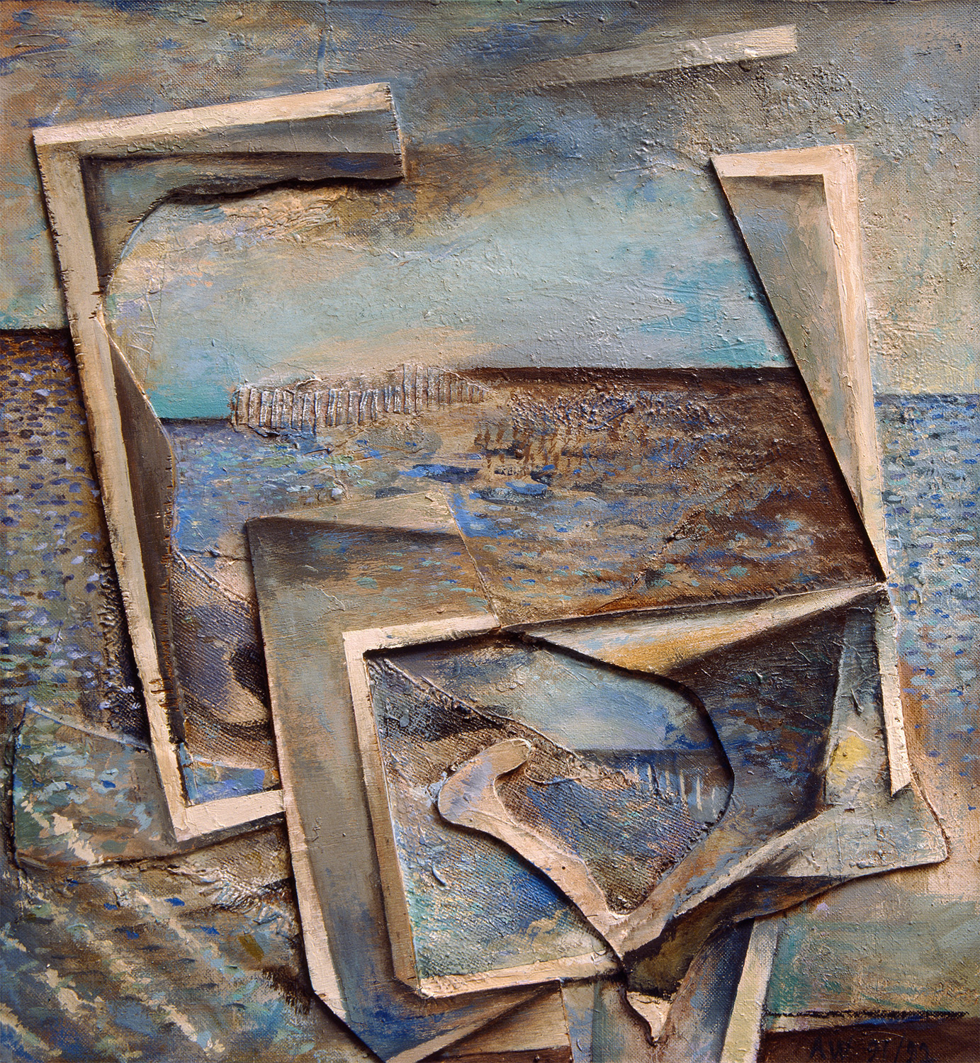 Homage To R.M. Seascape Painting  1991, 62 x 58 cm