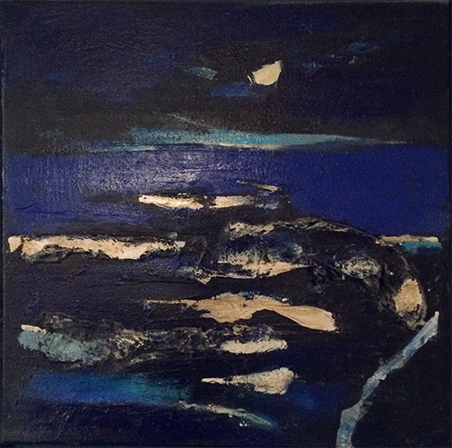 Night sea and Moon  51 x 51 cm