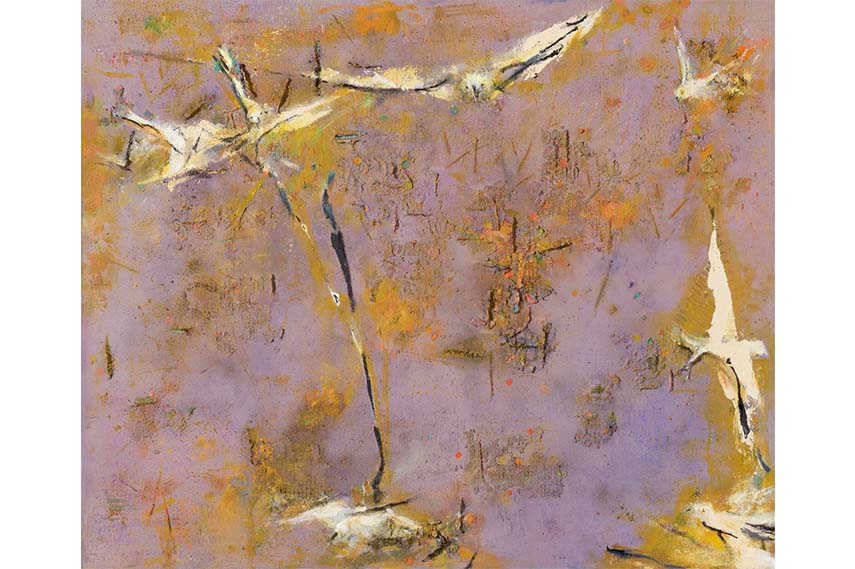 Stubbled Field with Birds  2007-12, 175 x 214 cm