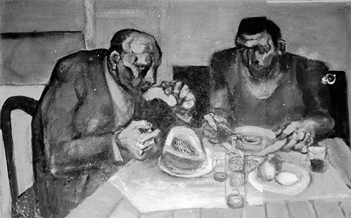 Two Men Eating  1958, 122 x 183 cm, oil on board