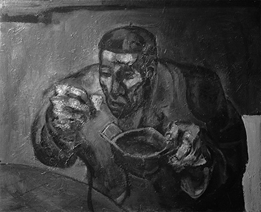 Man Eating  1959 76 x 107 cm, oil on board