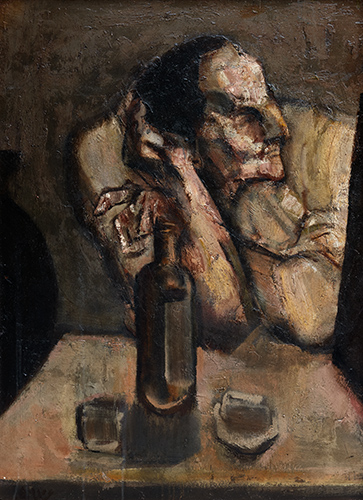 Seated Man  1957, 91 x 67 cm, oil on board