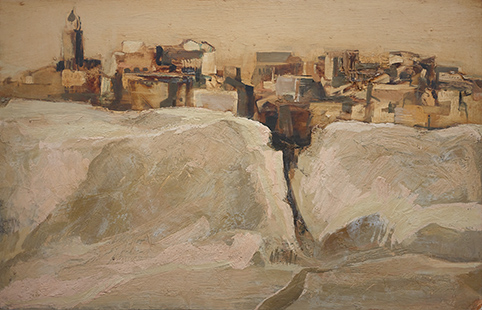 Chiclana De La Frontera  1963, 33 x 51 cm, oil on board