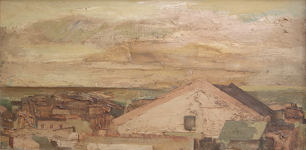 Rooftops, Puerto De Santa Maria  1962, 30.5 x 60.5 cms, oil on board