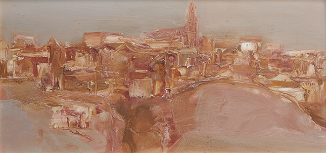 Pueblo  1964, 30 x 61 cm, oil on board