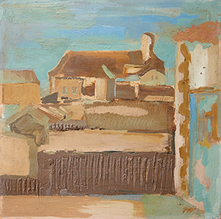 Rooftops, Puerto De Santa Maria III  1961, 39 x 39 cm, oil on board