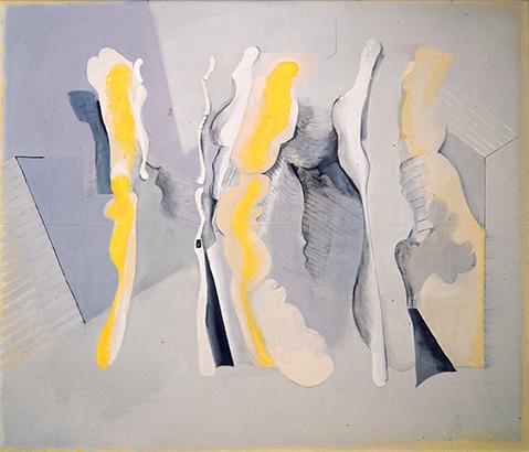 Yellow Dazzle Figure Interior  1967, 168 x 214 cm, oil on board