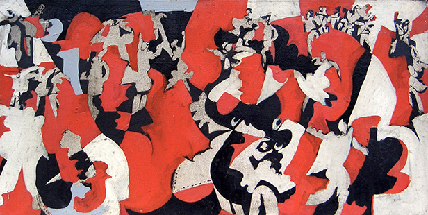 Red Dance 1963-4, 41 x 39 cm, oil on board