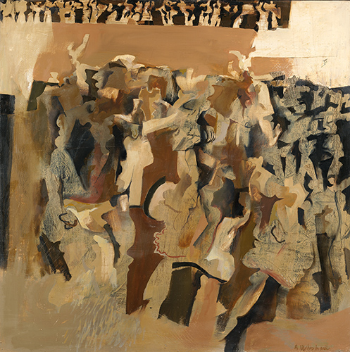 Dancers Brown 1963-4, 122 x 122 cm, oil on board