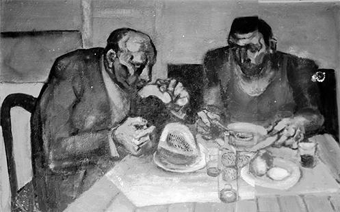 Two Men Eating  1958, 122 x 183 cm