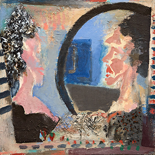 Woman And Mirror  1989-1990, 36 x 36 cm