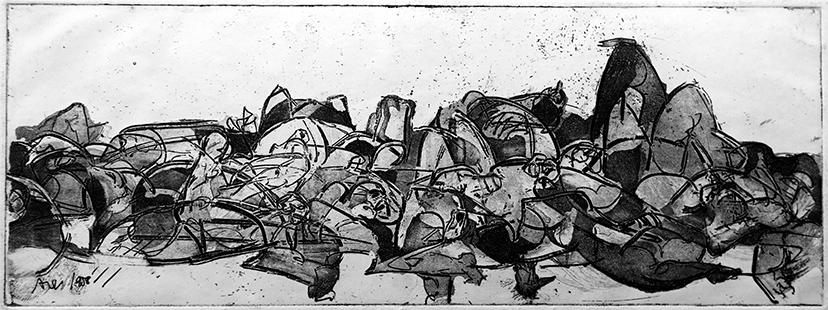 Carnage  1958, 11.5 x 31 cm, etching