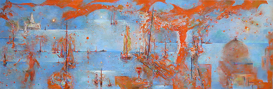 Out To Sea  2010-16, 68 x 208 cm