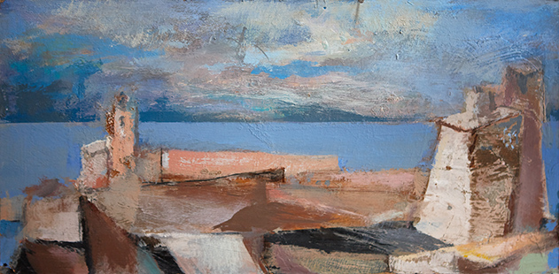 Over The Roof Tops Towards The Sea  2001-16, 22 x 44 cm