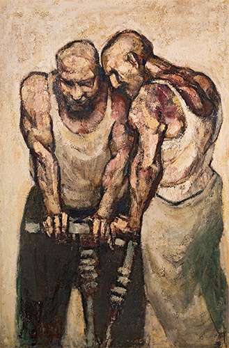 Two Men Drilling  1958, 180 x 122 cm, oil on board (Herbert Art Gallery, Coventry)