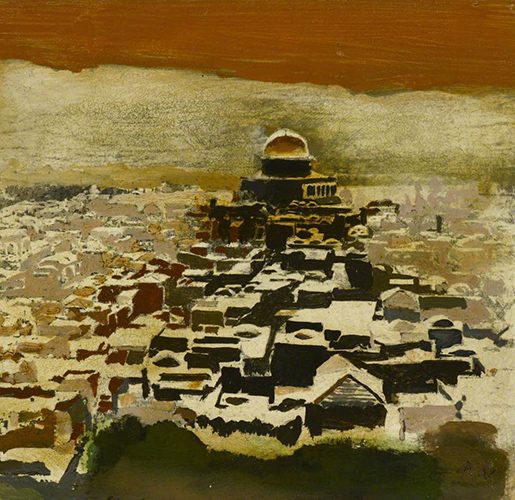 Dome of the Rock  18.5x19 cms, Oil on board (Ben Uri Collection)