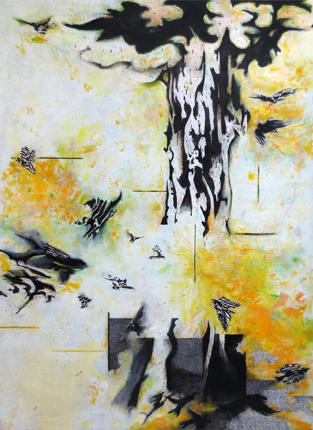 Summer Light With Tree And Birds  2006-17, 213 x 183 cm