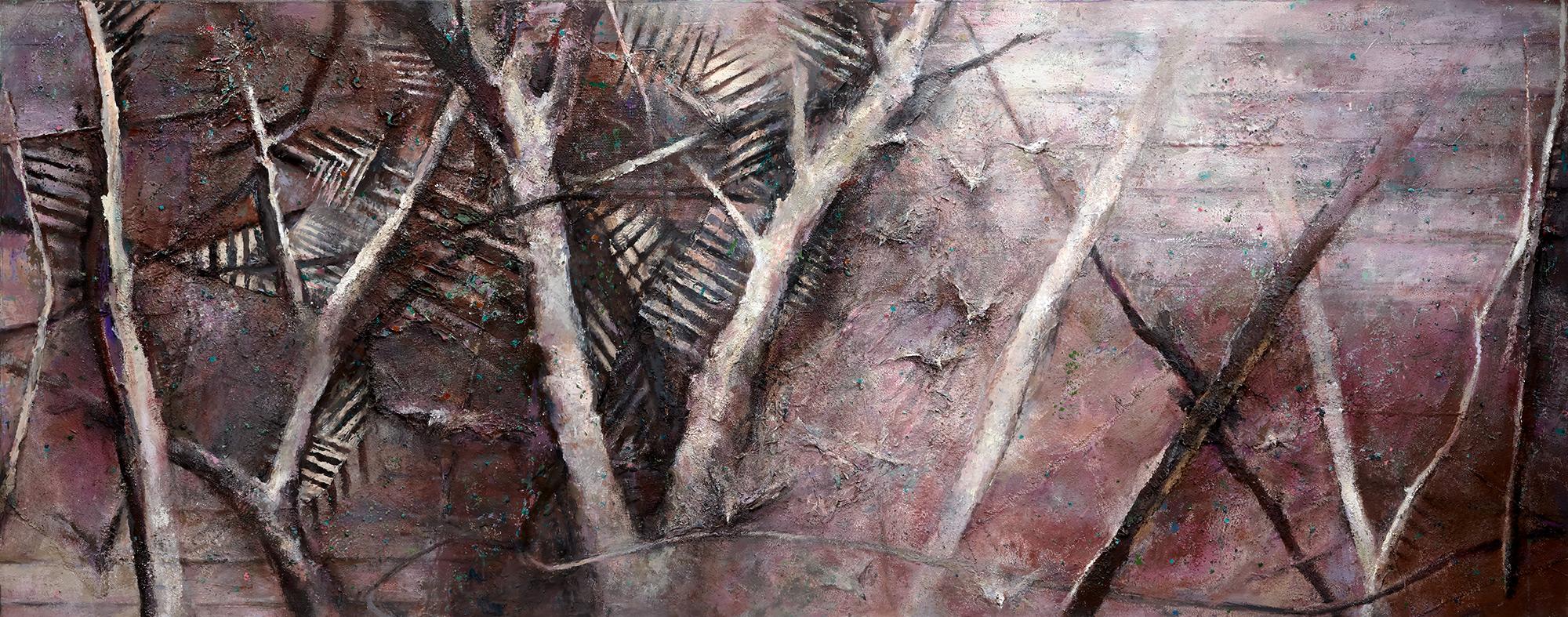 Winter Spinney With Birds  1982-2017, 120 x 305 cm