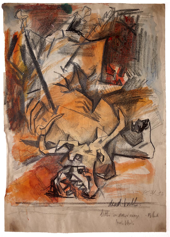 Dead Bull  1952, 25.5 x 18 cm