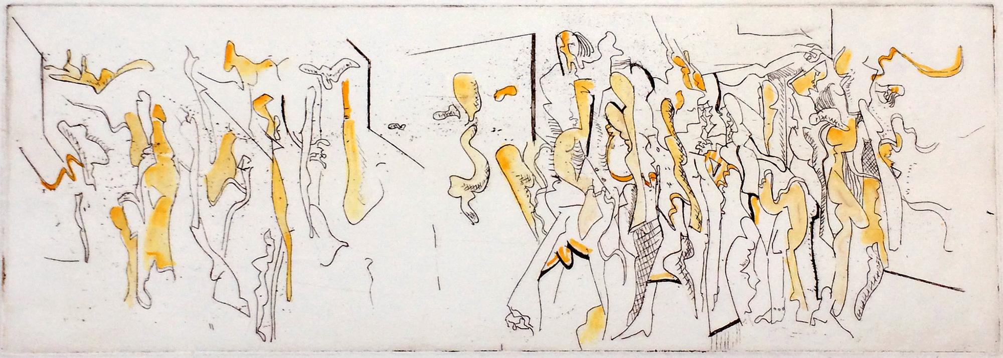 Disintegrating Group I  1967, 18 x 50.5 cm, etching