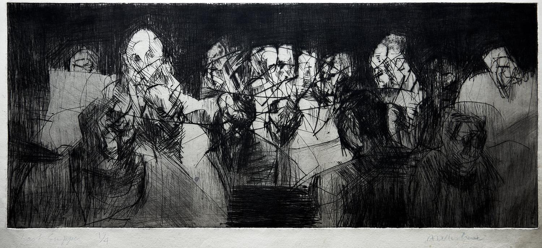 Last Supper  1967, 15 x 35 cm, etching