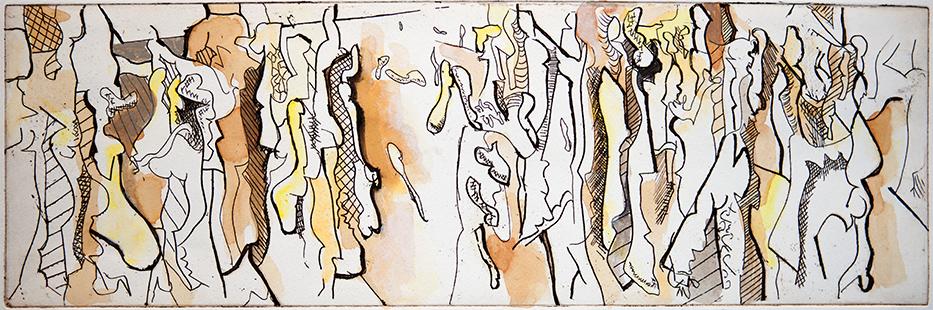 Group Disintegrating  1967, 16 x 50 cm, etching