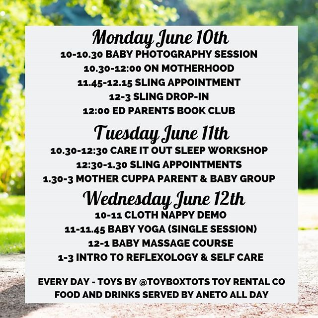 Self care workshop, Baby Yoga and Cloth Nappies: A busy week at TAV!  Monday // Pop on down for On Motherhood at 10.30 and talk relationships post baby with @sarahtessierdoula, join BOOK club at 12 for pasta, wine and discussion of Machines Like Me, or hop on by if you need help with a sling.  Tuesday // Bea is away so we have @careitoutsleepconsultant in the house for a fully booked sleep workshop. Keep your eyes peeled for more dates in future! There are some extra sling appointments to be had at lunch time and then our weekly parent and baby group @mother_cuppa with cake provided by @michelemyoga. Everyone is welcome!  Wednesday // We have @nappy_neighbours for their brilliant free cloth nappy demo and surgery- come learn more or troubleshoot if having any issues.  Theres also space for you and your baby to come and enjoy @babyglolondon Baby Yoga session- pre book to avoid disappointment.  We will round out the week with a brand *new* workshop from Megan @reflexologyhouse. Understand what self care is, the challenges to looking after yourself as a mum, and how reflexology and essential oils can help. You can even choose to stay on for a taster reflexology session if you like! Little people are more than welcome to join and toys and mats are available as always :) See you there!