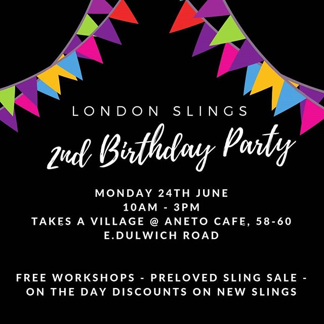 Monday at TAV // @londonslings is 2!  @londonslings have hit their terrible twos and to celebrate have some special treats in store for Monday:  10.00am FREE carrying bigger babies and toddlers workshop. Come along and pick up top tips for getting comfy again!  11.15am FREE Summer carrying workshop- learn tools for keeping cool this summer, keeping your baby safe and see what lightweight summer slings we have on offer.  Both workshops *MUST* be pre booked as space will be limited.  From 12-3 drop on in as normal, though we will have special prices on lots of brand new slings, some bargain ex hire slings for sale, and of course, birthday cake!  Lastly we also have a caption competition to win a @didymos_babywearing ring sling. Send us your photos captioned 'Keep calm and carry on' showing when your sling has saved the day. Email them to hello@londonslings.com or PM them to us to be in with a chance to win. Good luck everyone!