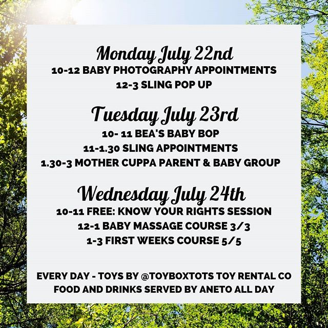 Better late than never! This weeks line up.. MON // Today Luci @lucisimpsonphotography has one more baby photography slot available at 11, if you'd like to capture your baby at their summer finest then book yourself in and pop on down! Then @londonslings will have their regular drop in from 12-3- remember they will be CLOSED next Monday so if you need a sling sorted, today is your day!  TUES // Bea @beasbabybop will be bopping at 10am; all are wkeocme to drop in and pay on the day. There are sling appointments from 11-1.30 and our free @mother_cuppa group on at 1.30-3pm with @michelemyoga popping in and providing some delicious cake for hungry parents! Our volunteer mums will be there too so if you're new and feeling unsure about coming, please know you will be so welcome.  WEDS // Amy @workit.co.uk will be offering a FREE SESSION on employment rights, from redundancy to shared leave. Pop along if you have any questions or concerns you'd like support with. We will round out the week with the final sessions of @babyglolondon baby massage and @midwife.rachel First Weeks course 👊  Hope to see you here!  #whatson #dulwich #goosegreen #newmums #newmum #newbaby #parenting #newparents #newdad #babymassage #slings #babycarrier #slinglibrary #fourthtrimester #postnatal #london #takesavillagetoraiseachild #takesavillage