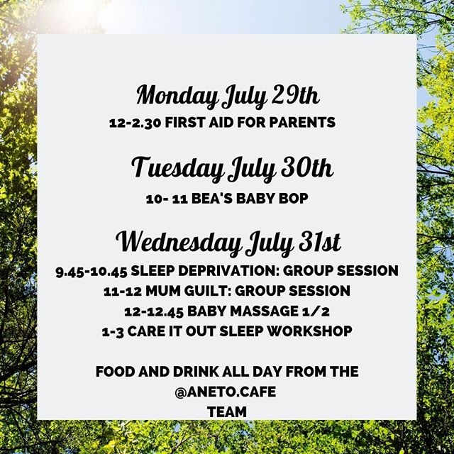 SLEEP (Please?!) // Group sessions on sleep and sleep deprivation next week.⠀⠀⠀⠀⠀⠀⠀⠀⠀ ⠀⠀⠀⠀⠀⠀⠀⠀⠀ MONDAY // Next week, Rachel & Katharine are both away and so there will be NO sling session! If you are returning a sling, please pop it in the out of hours box, and if you'd like to order a new one, you can do so by last thing Thursday and it can be placed into the box for collection any time that suits. ⠀⠀⠀⠀⠀⠀⠀⠀⠀ ⠀⠀⠀⠀⠀⠀⠀⠀⠀ Instead Carolyn from @daisyfirstaidgreenwich will be running a fully booked First Aid course. If you've signed up, you'll find her in the workshop room when you arrive.⠀⠀⠀⠀⠀⠀⠀⠀⠀ ⠀⠀⠀⠀⠀⠀⠀⠀⠀ TUESDAY // Bea @beasbabybop will be bopping as normal from 10-10.45 so drop on in for a sing-a-long with your baby or toddler.⠀⠀⠀⠀⠀⠀⠀⠀⠀ ⠀⠀⠀⠀⠀⠀⠀⠀⠀ There'll be NO MOTHER CUPPA (contrary to what we told everyone at the last Mother Cuppa) this week or next, as many of our volunteers are away on holiday. However, they will be greaing up for Monday meet-ups @theactress from 12th Aug onwards⠀⠀⠀⠀⠀⠀⠀⠀⠀ ⠀⠀⠀⠀⠀⠀⠀⠀⠀ WEDS // It's a busy day & the wonderful @lucisimpsonphotography will be stepping in to help everything run smoothly.⠀⠀⠀⠀⠀⠀⠀⠀⠀ ⠀⠀⠀⠀⠀⠀⠀⠀⠀ We have spaces for you to join local counselor Jess for her sessions on either sleep deprivation and how it's affecting you, or to come and talk about your experiences of mum guilt and the impact it has on your life. ⠀⠀⠀⠀⠀⠀⠀⠀⠀ ⠀⠀⠀⠀⠀⠀⠀⠀⠀ From 12-12.45 you can join a shortened baby massage course, of 2 sessions, today and next week, for just £20. You can book your spot to join Emily @babyglolondon via our website.⠀⠀⠀⠀⠀⠀⠀⠀⠀ ⠀⠀⠀⠀⠀⠀⠀⠀⠀ From 1-3pm Kerry @kerrycaressleepconsultant will be running her hugely popular Care It Out Sleep workshop  and there are still just a couple of space left if you'd like to join her!⠀⠀⠀⠀⠀⠀⠀⠀⠀ ⠀⠀⠀⠀⠀⠀⠀⠀⠀ The Takes a Village playpen wont be set up this week, but the @aneto.cafe team will be in full flow for a little longer, if you'd like to stop in for brunch, lunch, coffee or cake.⠀⠀⠀⠀⠀⠀⠀⠀⠀ ⠀⠀⠀⠀⠀⠀⠀⠀⠀ #whatson #
