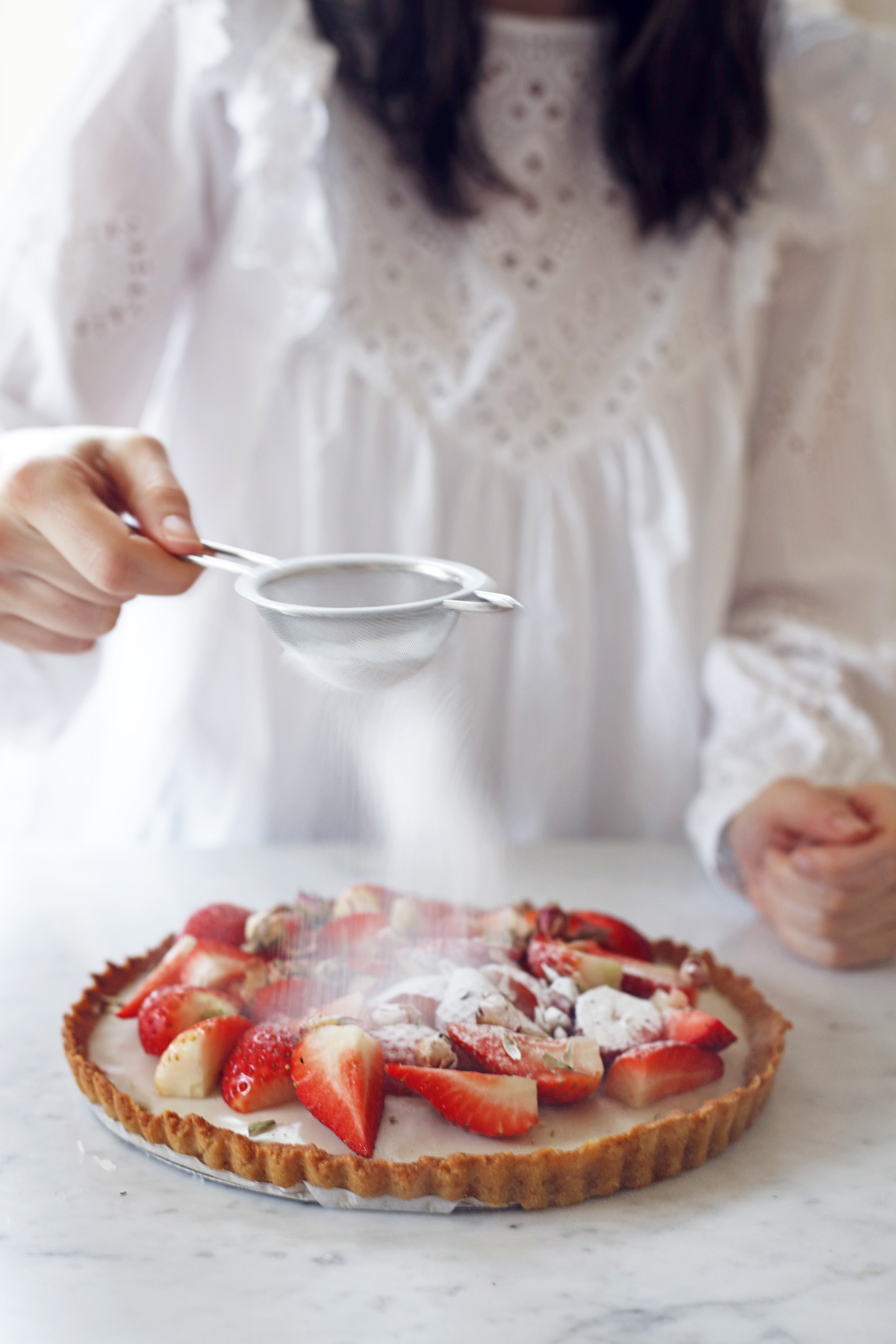 vegan straberry custard tart Food Bandits