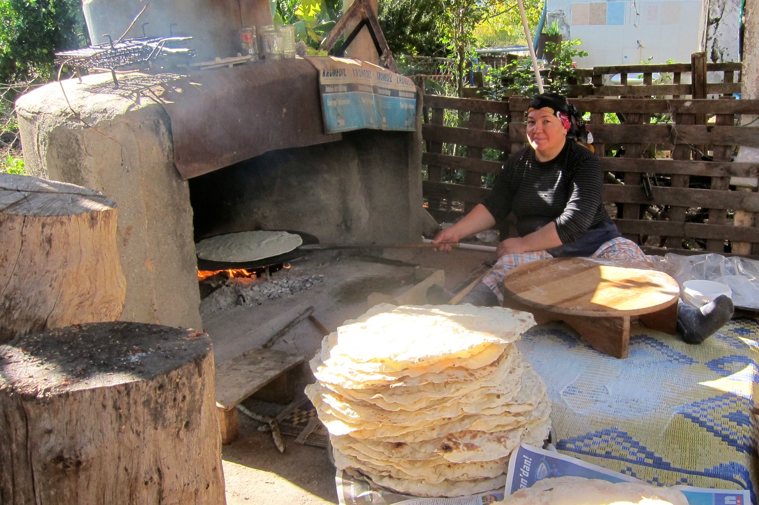 Our flatbread making friend near Kayakoy.