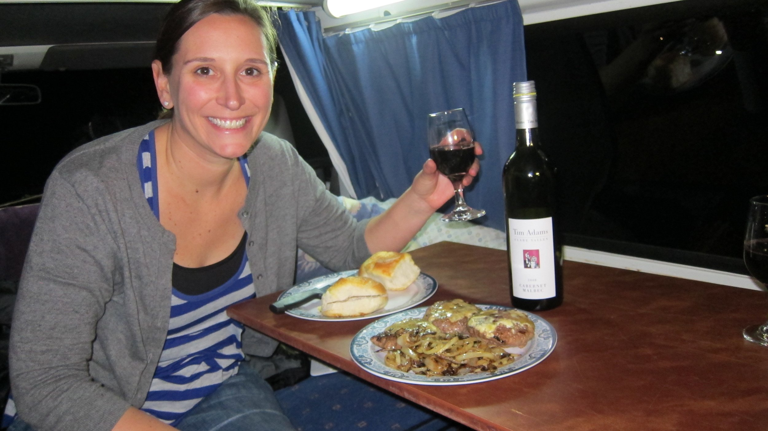 Most of our dining experiences were in the campervan. But, we always drank good wine.
