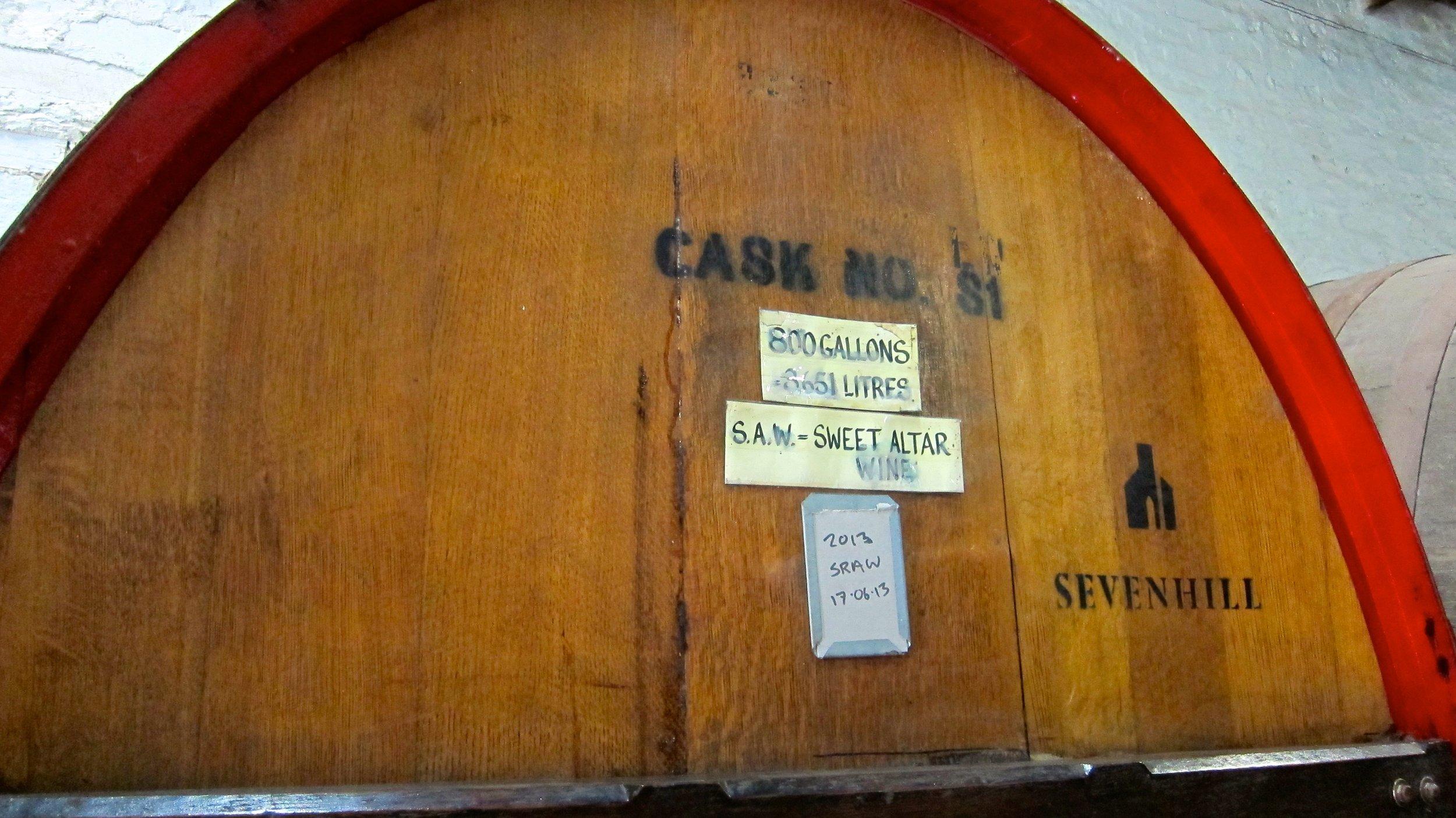Huge barrel of sweet altar wine at Sevenhill Cellars.