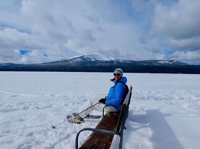 Usually we're kayaking or canoeing on it - or riding our bikes around Diamond Lake. This weekend we sat in the middle of it, snowshoed on it, and snowshoed high above it. Been coming here for the last 12(!) years and it's such a great place with the friendliest people.