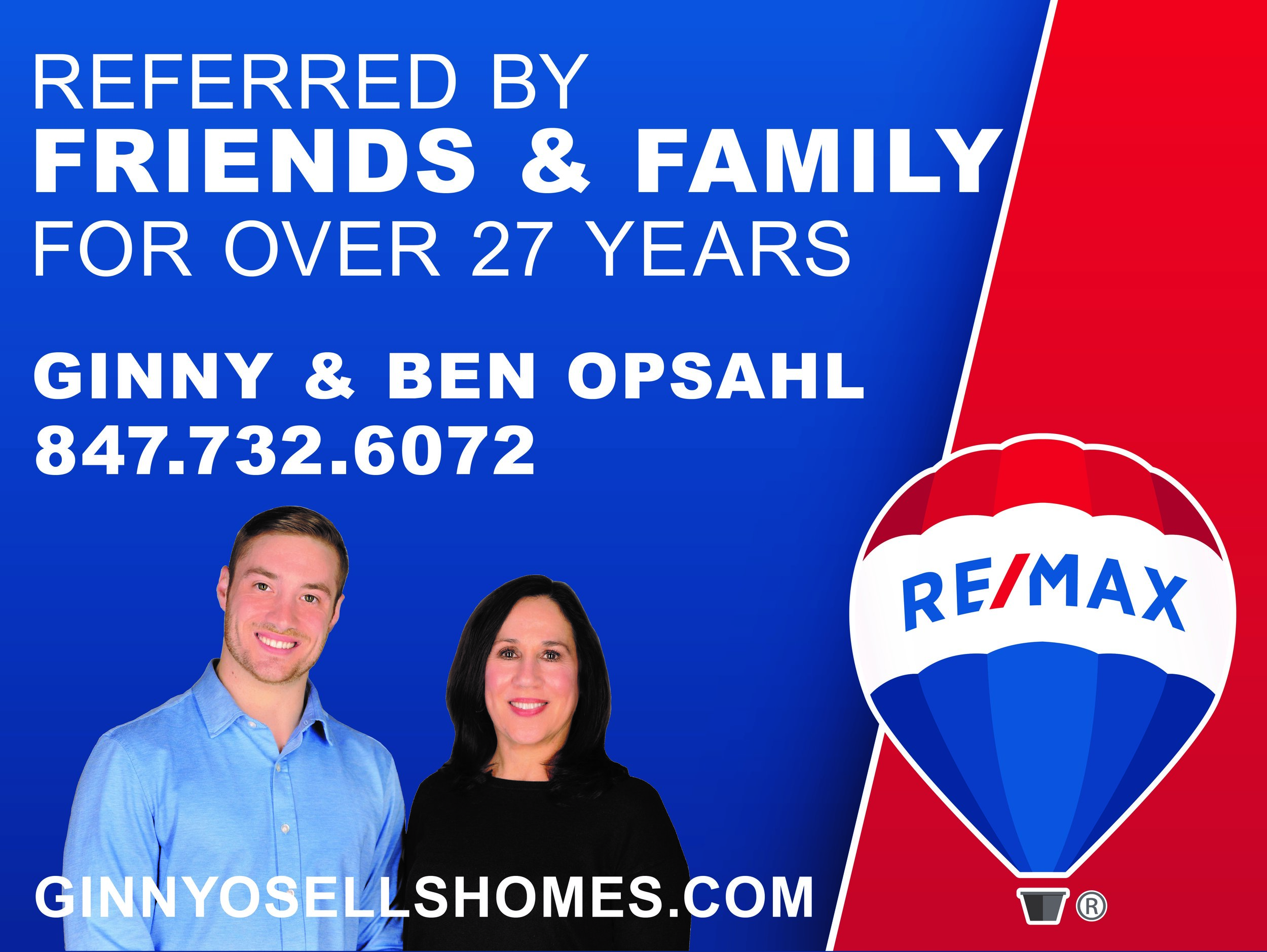 Ginny, right and son, Ben, left, run their family ReMax Business together and are also annual hole sponsors for the Fellowship Housing Golf Outing.