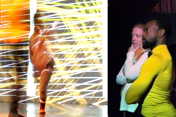 André Zachary and Norah Zuniga Shaw collaborate in the Motion Lab at ACCAD.