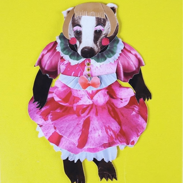 Chimps Tea Party - Cute as heck collaged cards, pin badges and more.