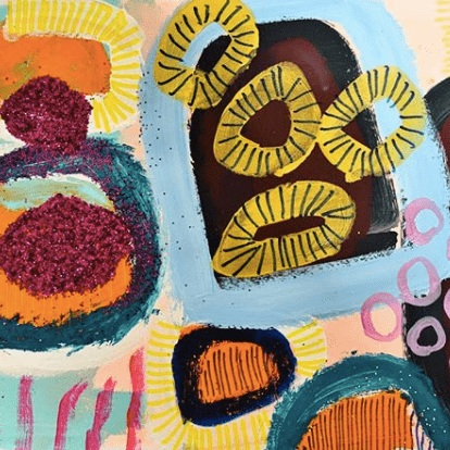 Jessie Woodward - Bright abstract paintings, with GLITTER.