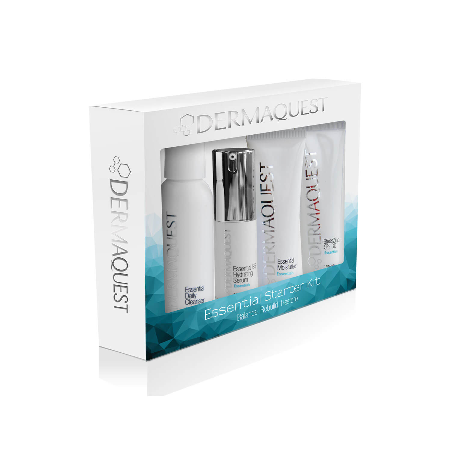 Essential Starter Kit - This kit contains comprehensive blends of high-performance ingredients such as powerful antioxidants and botanical plant stem cells designed to balance, hydrate, strengthen and protect the skin. this regimen helps your skin reach its fullest potential by improving skins' natural balance and establishing a vibrant healthy glow.sizesEssential Daily Cleanser (2 fl oz / 59.1 ml)Essential B5 Hydrating Serum (0.5 fl oz / 14.8 ml)Essential Moisturizer (1 fl oz / 29.6 ml)SheerZinc SPF30(1 oz / 28.3 g)